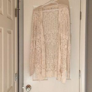 Cream/white Crochet Cardigan Sweater